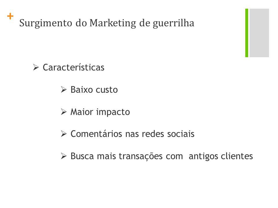 + Surgimento do Marketing de guerrilha Características Baixo custo Maior impacto Comentários nas redes sociais Busca mais transações com antigos clien