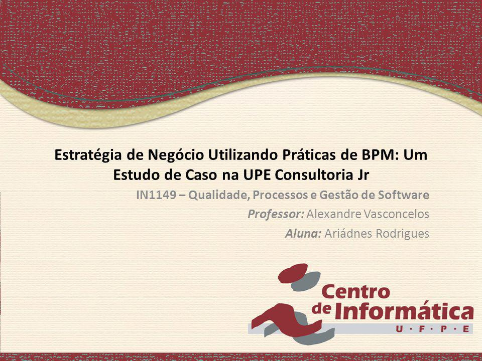 Estratégia de Negócio Utilizando Práticas de BPM: Um Estudo de Caso na UPE Consultoria Jr IN1149 – Qualidade, Processos e Gestão de Software Professor