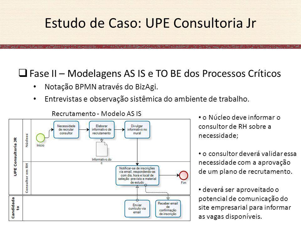 Estudo de Caso: UPE Consultoria Jr Fase II – Modelagens AS IS e TO BE dos Processos Críticos Notação BPMN através do BizAgi. Entrevistas e observação