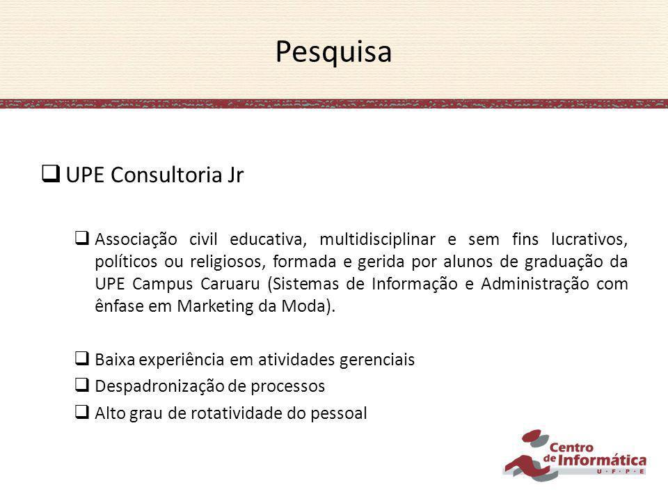 Pesquisa UPE Consultoria Jr Associação civil educativa, multidisciplinar e sem fins lucrativos, políticos ou religiosos, formada e gerida por alunos d