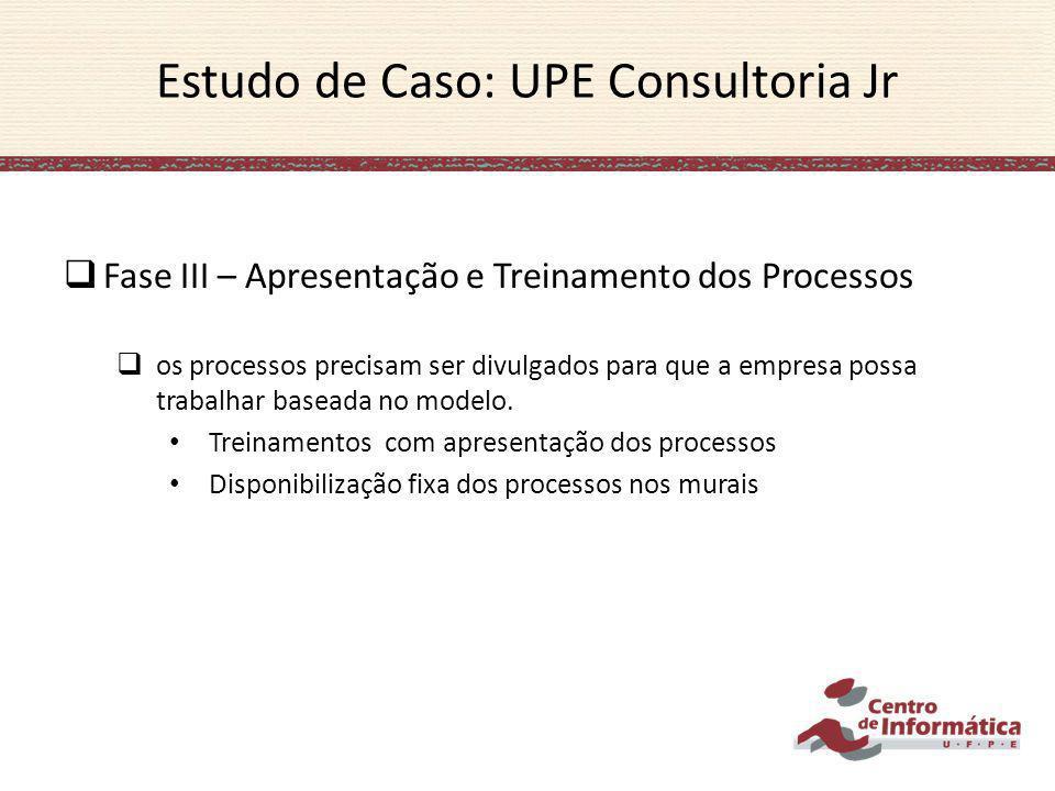 Estudo de Caso: UPE Consultoria Jr Fase III – Apresentação e Treinamento dos Processos os processos precisam ser divulgados para que a empresa possa t