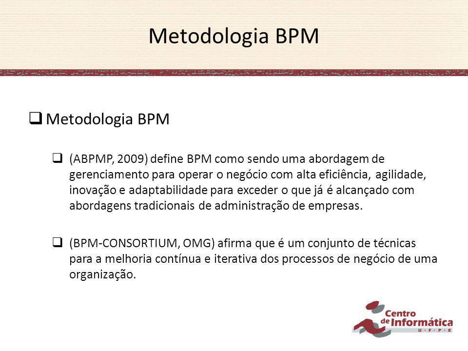 Metodologia BPM (ABPMP, 2009) define BPM como sendo uma abordagem de gerenciamento para operar o negócio com alta eficiência, agilidade, inovação e ad