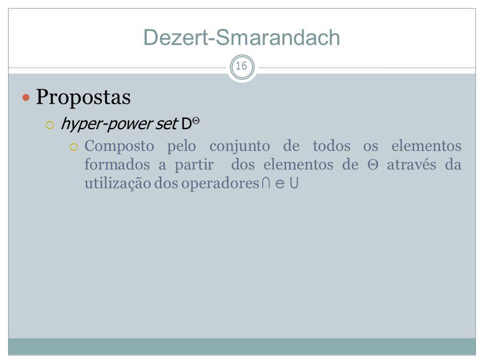 16 Propostas hyper-power set D Composto pelo conjunto de todos os elementos formados a partir dos elementos de através da utilização dos operadores e