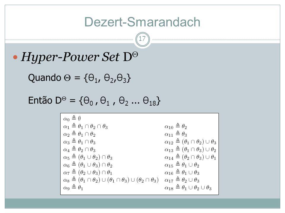 17 Hyper-Power Set D Dezert-Smarandach Quando = { θ 1, θ 2, θ 3 } Então D = { θ 0, θ 1, θ 2... θ 18 }