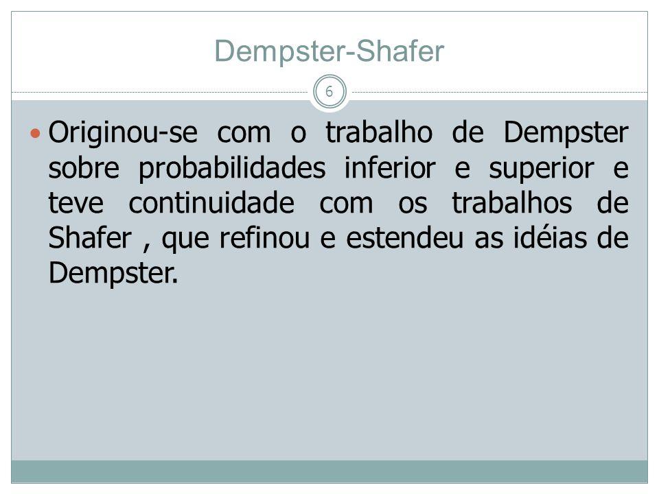 Dempster-Shafer 7 Provêm métodos simples de combinar evidências oriundas de diferentes fontes sem a necessidade de um conhecimento a priori de suas distribuições de probabilidade