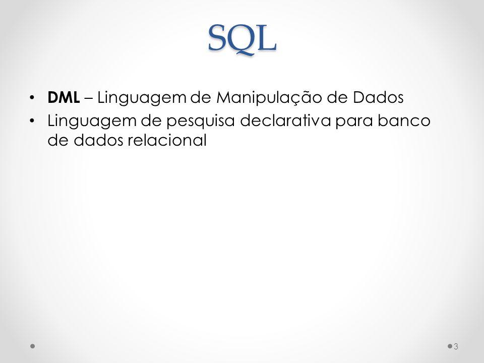 SQL DML – Linguagem de Manipulação de Dados Linguagem de pesquisa declarativa para banco de dados relacional 3