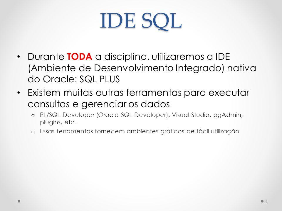 IDE SQL Durante TODA a disciplina, utilizaremos a IDE (Ambiente de Desenvolvimento Integrado) nativa do Oracle: SQL PLUS Existem muitas outras ferrame