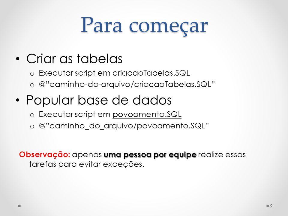 Para começar Criar as tabelas o Executar script em criacaoTabelas.SQL o @caminho-do-arquivo/criacaoTabelas.SQL Popular base de dados o Executar script