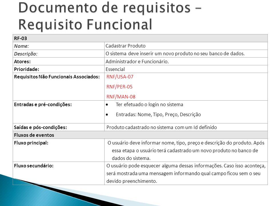 RF-03 Nome: Cadastrar Produto Descrição: O sistema deve inserir um novo produto no seu banco de dados. Atores: Administrador e Funcionário. Prioridade