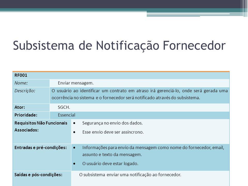 Subsistema de Notificação Fornecedor RF001 Nome: Enviar mensagem. Descrição: O usuário ao identificar um contrato em atraso irá gerenciá-lo, onde será