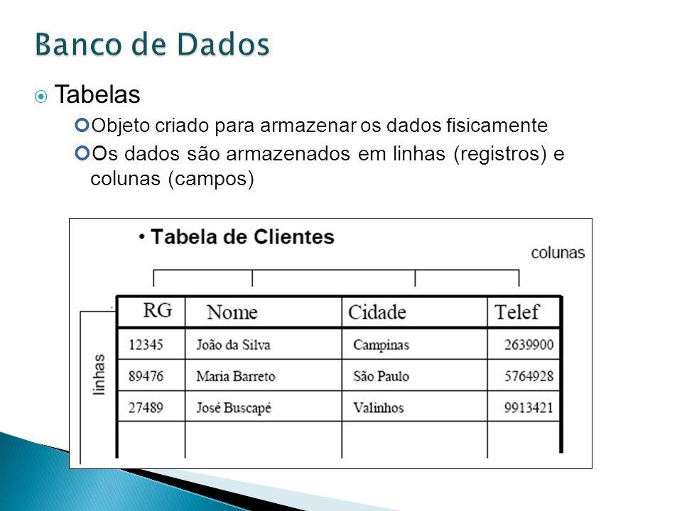 Tabelas Objeto criado para armazenar os dados fisicamente Os dados são armazenados em linhas (registros) e colunas (campos)