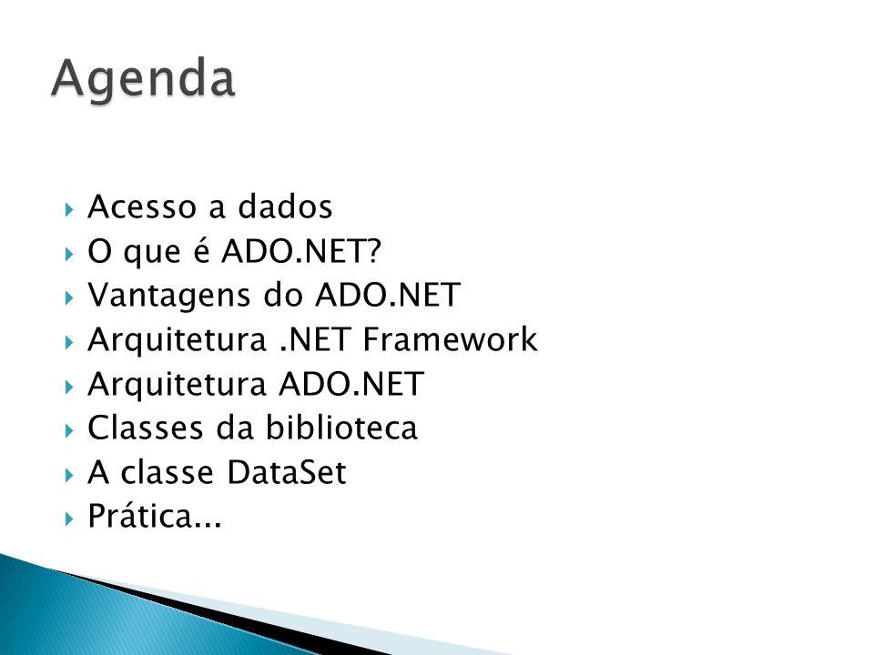 Acesso a dados O que é ADO.NET? Vantagens do ADO.NET Arquitetura.NET Framework Arquitetura ADO.NET Classes da biblioteca A classe DataSet Prática...
