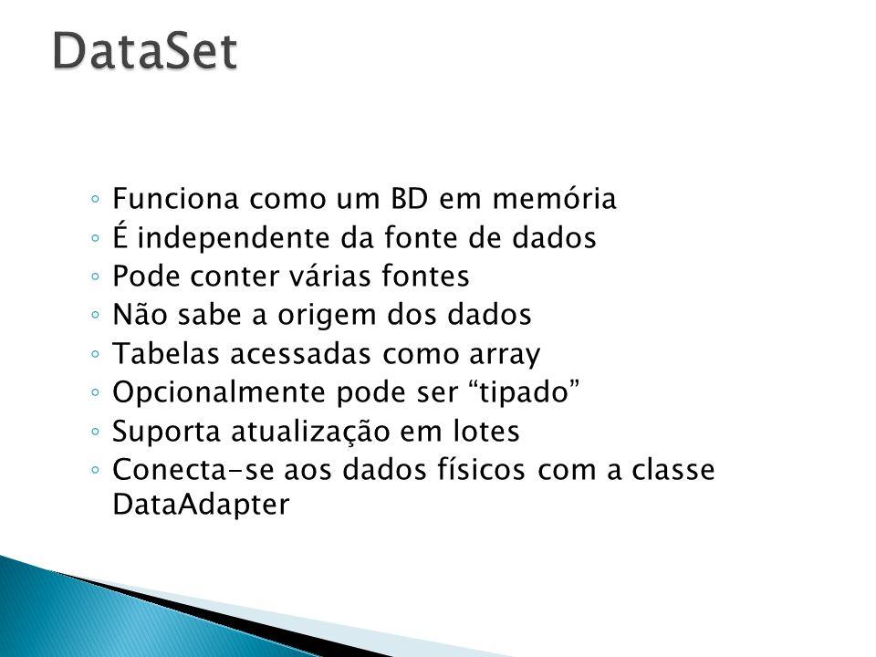 Funciona como um BD em memória É independente da fonte de dados Pode conter várias fontes Não sabe a origem dos dados Tabelas acessadas como array Opc