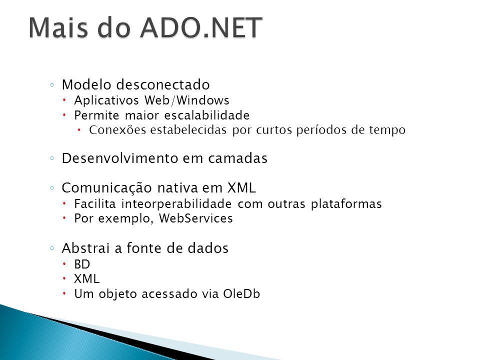 Modelo desconectado Aplicativos Web/Windows Permite maior escalabilidade Conexões estabelecidas por curtos períodos de tempo Desenvolvimento em camada