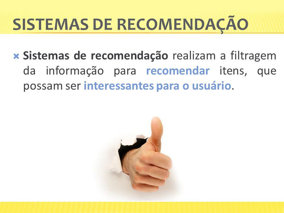 SISTEMAS DE RECOMENDAÇÃO Sistemas de recomendação realizam a filtragem da informação para recomendar itens, que possam ser interessantes para o usuári