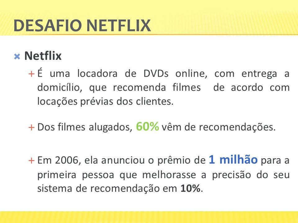 DESAFIO NETFLIX Netflix É uma locadora de DVDs online, com entrega a domicílio, que recomenda filmes de acordo com locações prévias dos clientes. Dos