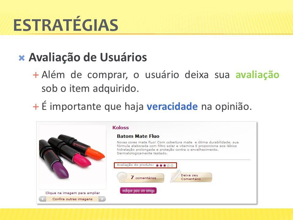 ESTRATÉGIAS Avaliação de Usuários Além de comprar, o usuário deixa sua avaliação sob o item adquirido. É importante que haja veracidade na opinião.