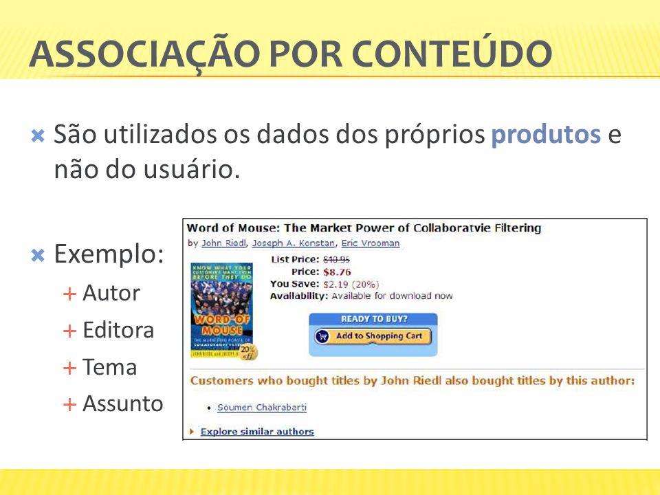 ASSOCIAÇÃO POR CONTEÚDO São utilizados os dados dos próprios produtos e não do usuário. Exemplo: Autor Editora Tema Assunto