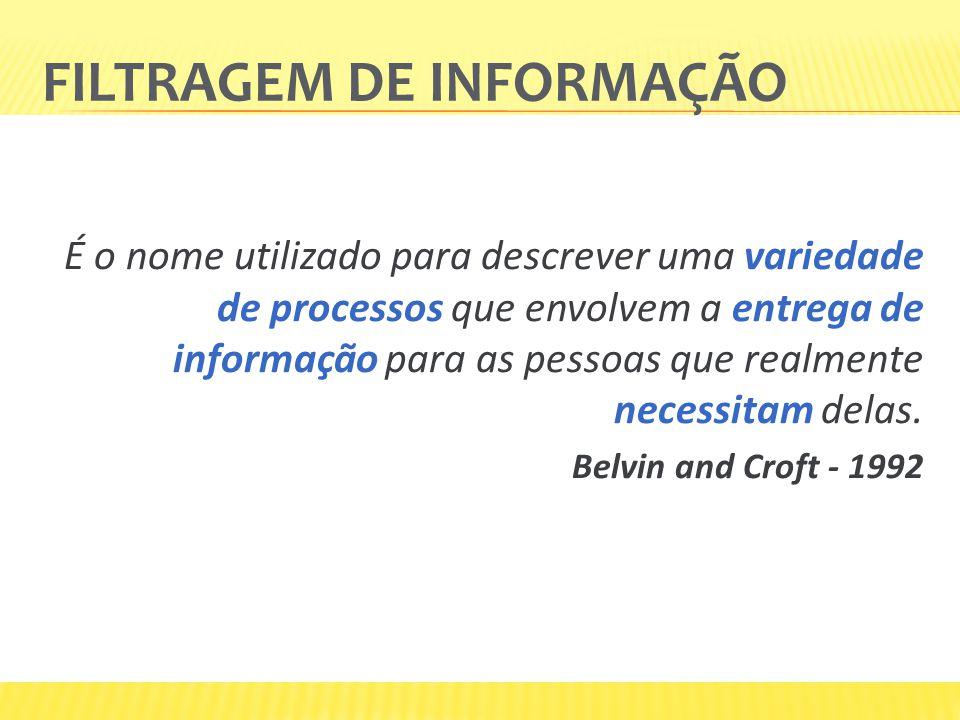 FILTRAGEM DE INFORMAÇÃO É o nome utilizado para descrever uma variedade de processos que envolvem a entrega de informação para as pessoas que realment