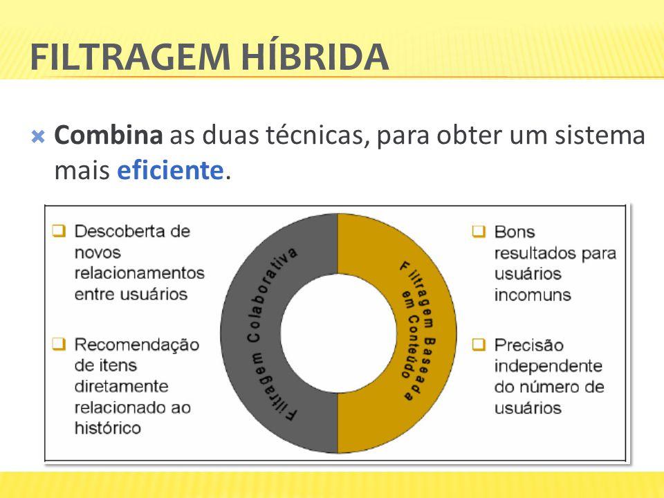 FILTRAGEM HÍBRIDA Combina as duas técnicas, para obter um sistema mais eficiente.