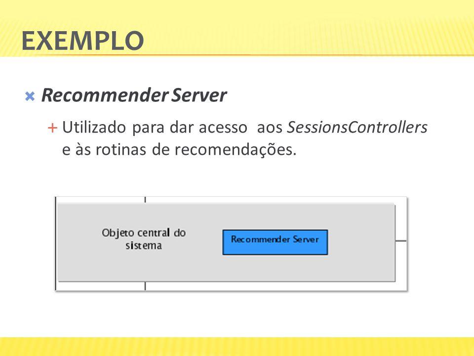 Recommender Server Utilizado para dar acesso aos SessionsControllers e às rotinas de recomendações. EXEMPLO