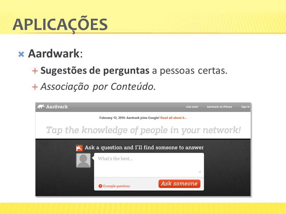 Aardwark: Sugestões de perguntas a pessoas certas. Associação por Conteúdo.