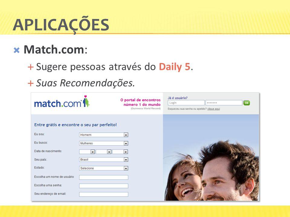 APLICAÇÕES Match.com: Sugere pessoas através do Daily 5. Suas Recomendações.