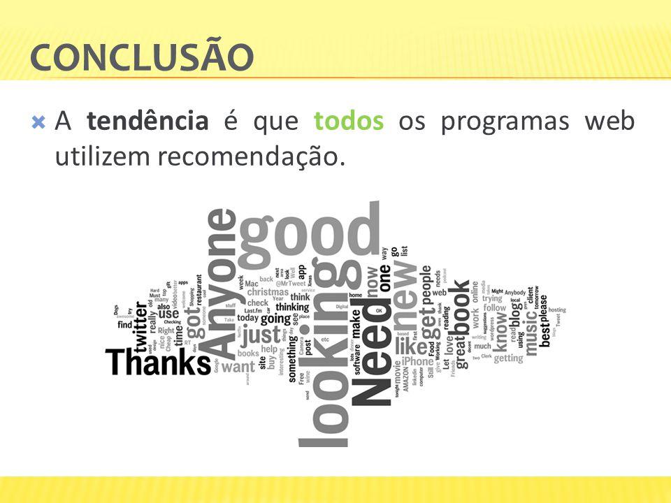 CONCLUSÃO A tendência é que todos os programas web utilizem recomendação.