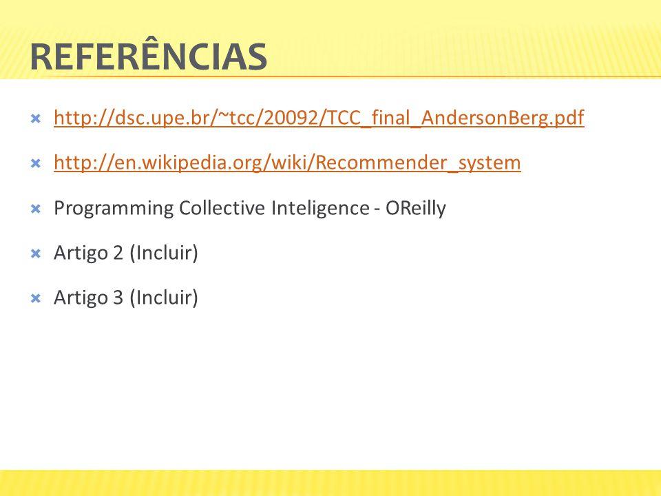 REFERÊNCIAS http://dsc.upe.br/~tcc/20092/TCC_final_AndersonBerg.pdf http://en.wikipedia.org/wiki/Recommender_system Programming Collective Inteligence