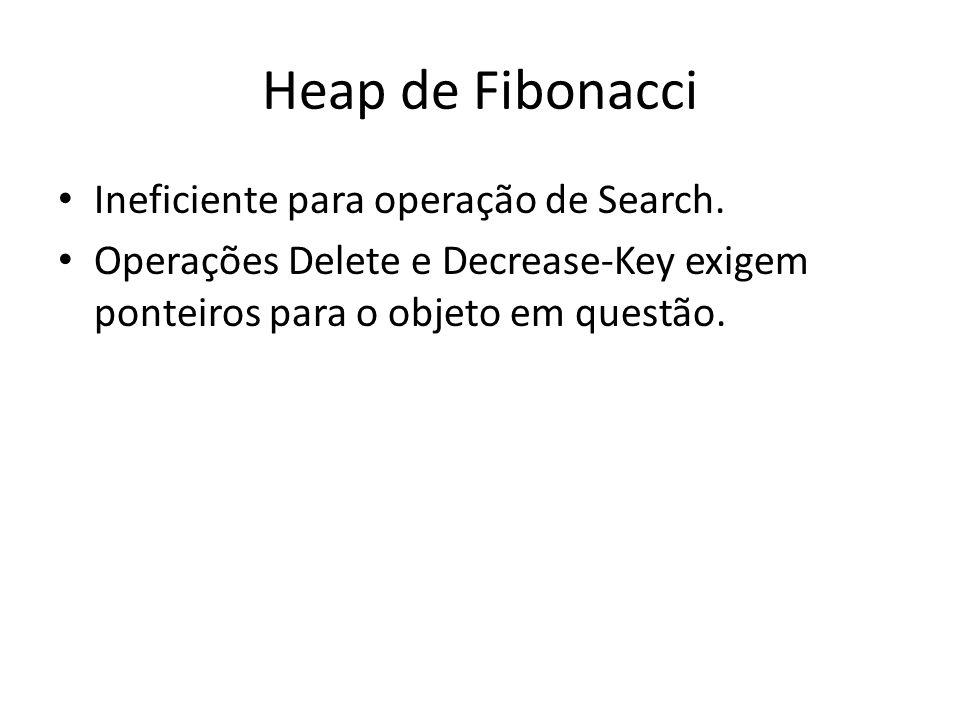 Heap de Fibonacci Ineficiente para operação de Search. Operações Delete e Decrease-Key exigem ponteiros para o objeto em questão.