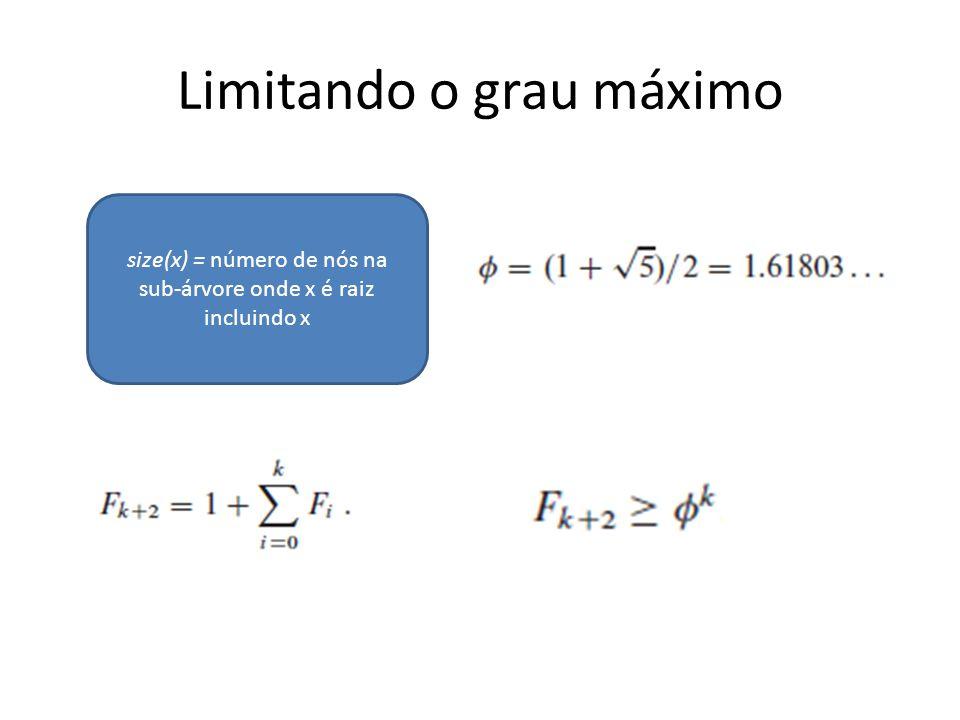 Limitando o grau máximo size(x) = número de nós na sub-árvore onde x é raiz incluindo x