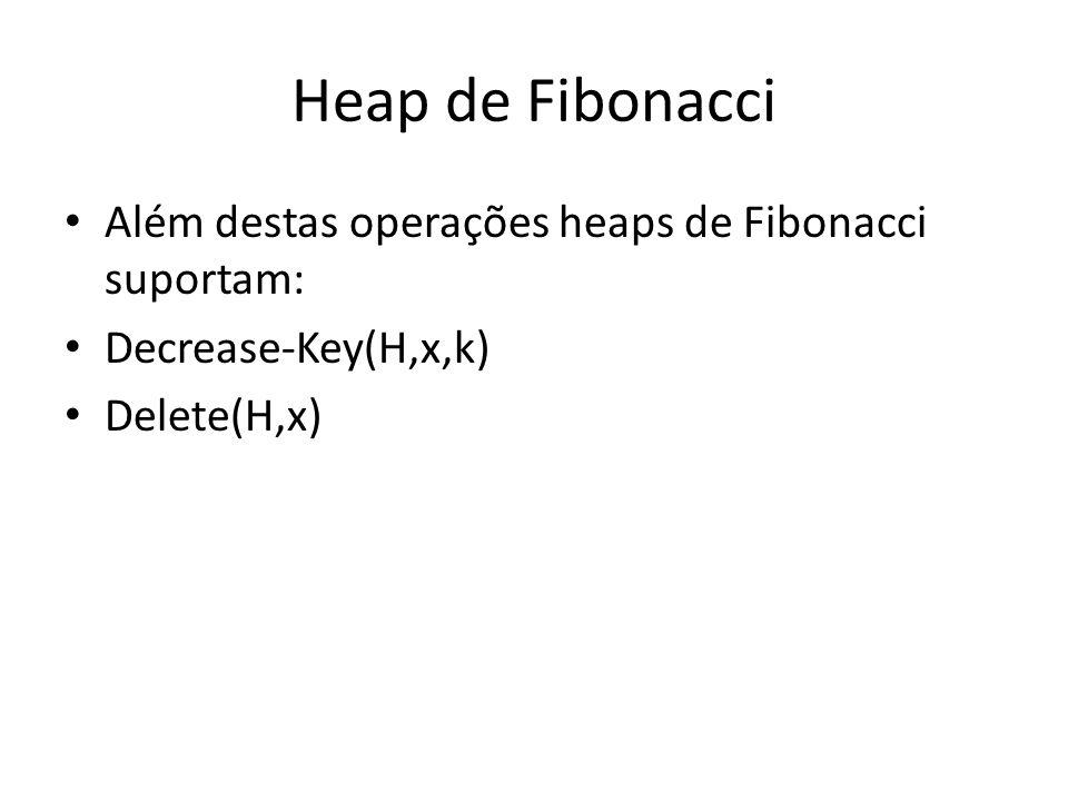Heap de Fibonacci Além destas operações heaps de Fibonacci suportam: Decrease-Key(H,x,k) Delete(H,x)