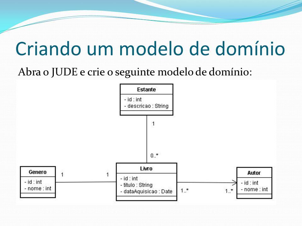 Criando um modelo de domínio Abra o JUDE e crie o seguinte modelo de domínio: