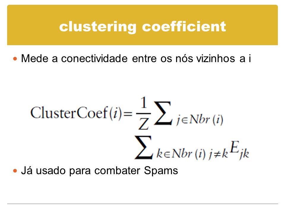 clustering coefficient Mede a conectividade entre os nós vizinhos a i Já usado para combater Spams