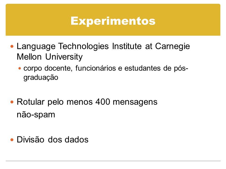 Experimentos Language Technologies Institute at Carnegie Mellon University corpo docente, funcionários e estudantes de pós- graduação Rotular pelo menos 400 mensagens não-spam Divisão dos dados