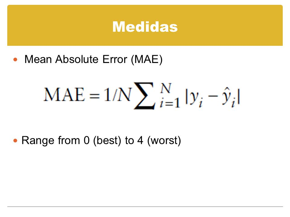 Medidas Mean Absolute Error (MAE) Range from 0 (best) to 4 (worst)