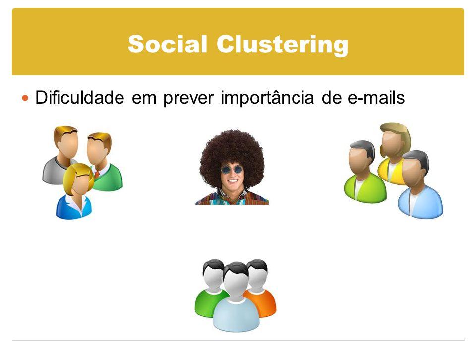 Rementes não marcam mensagens Inferência a partir do seu grupo (SVM) Newman Clustering (NC) algorithm Social Clustering