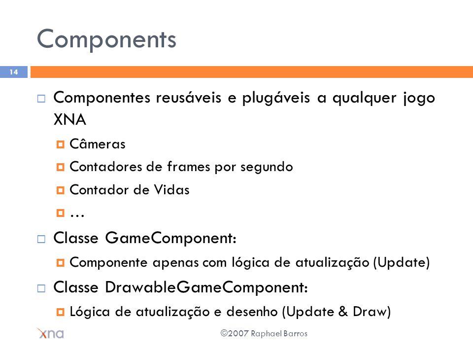 Components Componentes reusáveis e plugáveis a qualquer jogo XNA Câmeras Contadores de frames por segundo Contador de Vidas … Classe GameComponent: Co