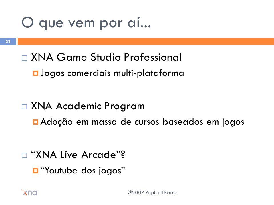 O que vem por aí... XNA Game Studio Professional Jogos comerciais multi-plataforma XNA Academic Program Adoção em massa de cursos baseados em jogos XN