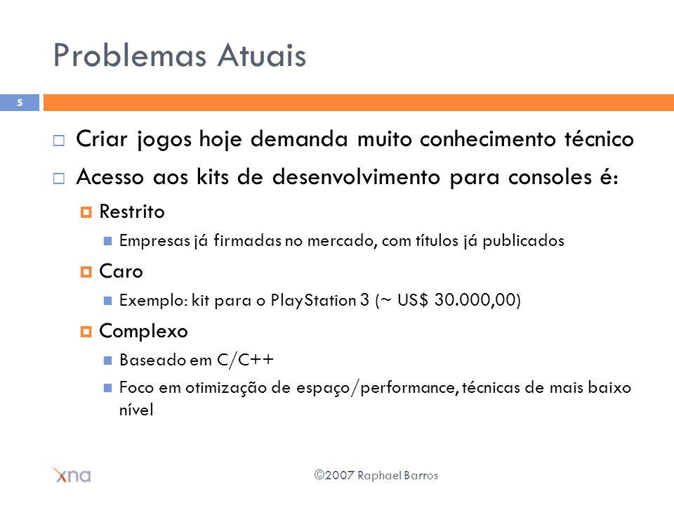 Problemas Atuais Criar jogos hoje demanda muito conhecimento técnico Acesso aos kits de desenvolvimento para consoles é: Restrito Empresas já firmadas