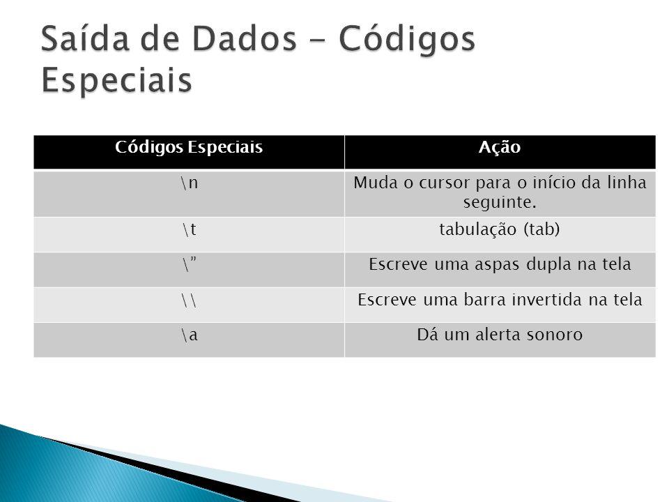 Códigos EspeciaisAção \nMuda o cursor para o início da linha seguinte.