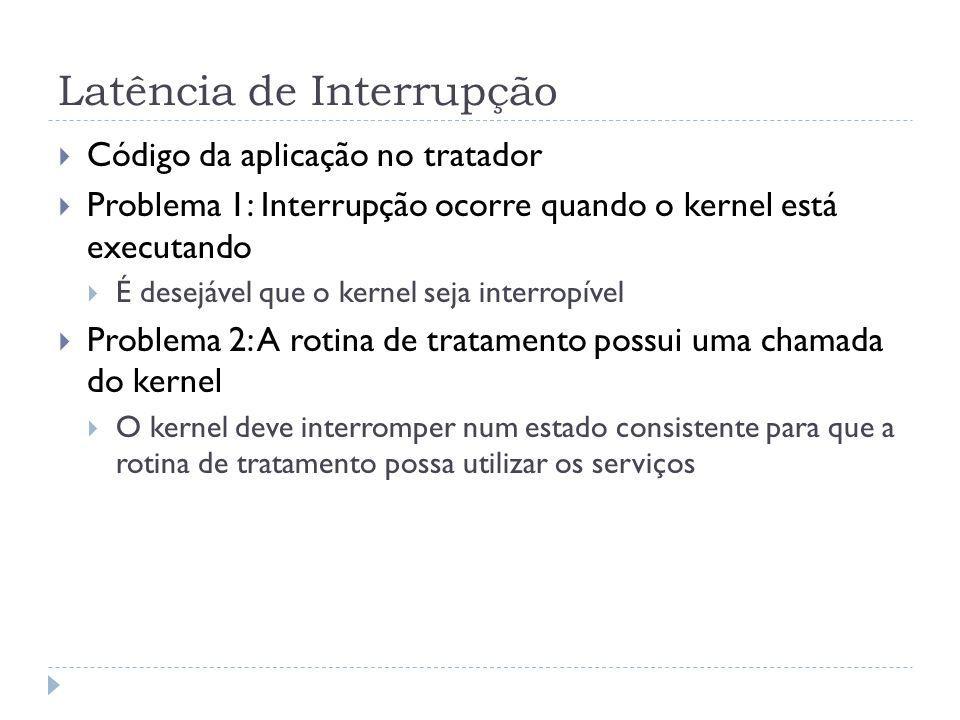Latência de Interrupção Código da aplicação no tratador Problema 1: Interrupção ocorre quando o kernel está executando É desejável que o kernel seja i