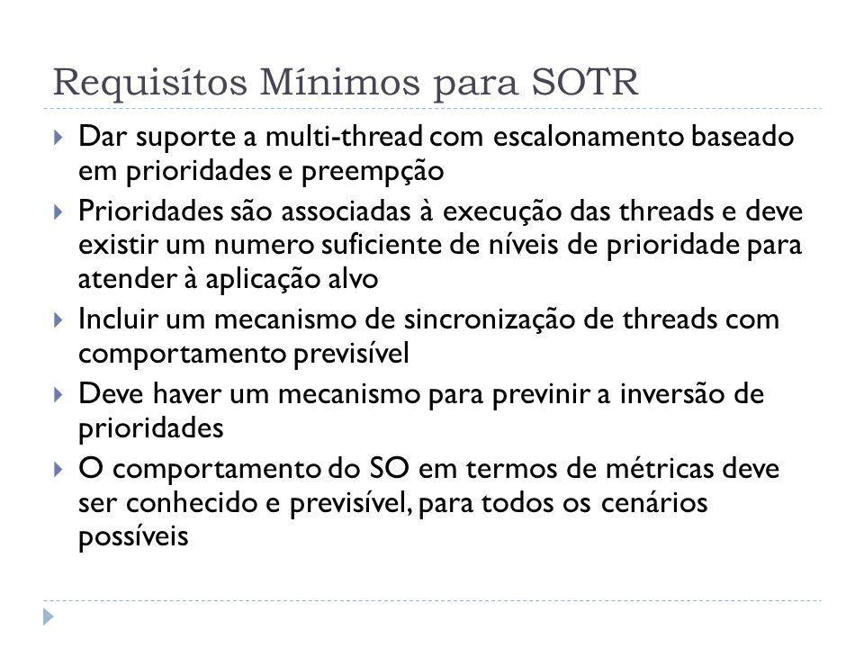 Requisítos Mínimos para SOTR Dar suporte a multi-thread com escalonamento baseado em prioridades e preempção Prioridades são associadas à execução das
