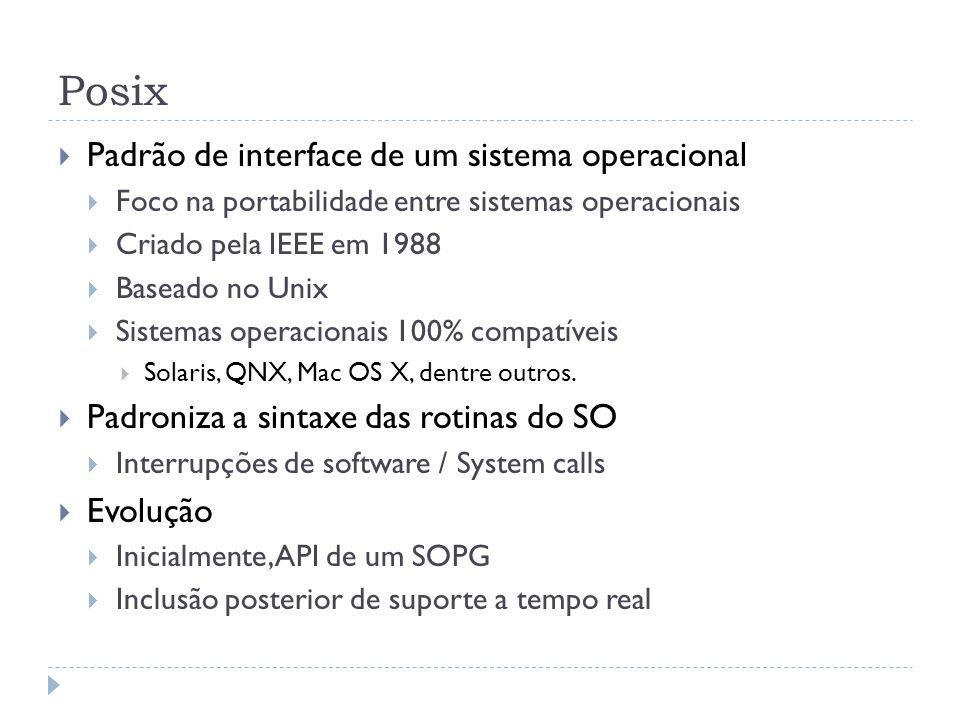 Posix Padrão de interface de um sistema operacional Foco na portabilidade entre sistemas operacionais Criado pela IEEE em 1988 Baseado no Unix Sistema