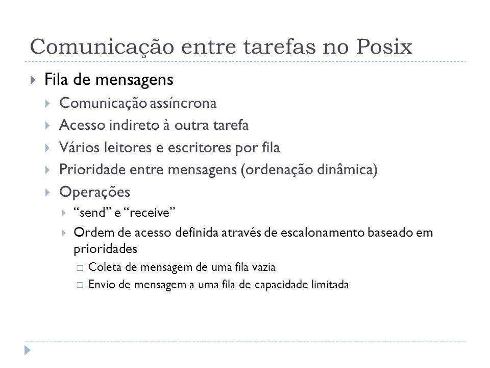 Comunicação entre tarefas no Posix Fila de mensagens Comunicação assíncrona Acesso indireto à outra tarefa Vários leitores e escritores por fila Prior