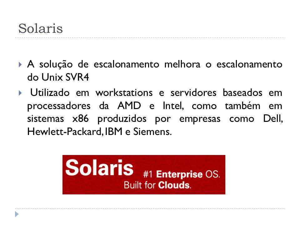 Solaris A solução de escalonamento melhora o escalonamento do Unix SVR4 Utilizado em workstations e servidores baseados em processadores da AMD e Inte