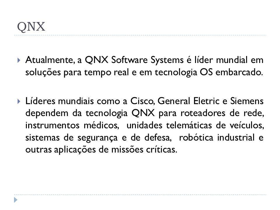 QNX Atualmente, a QNX Software Systems é líder mundial em soluções para tempo real e em tecnologia OS embarcado. Líderes mundiais como a Cisco, Genera