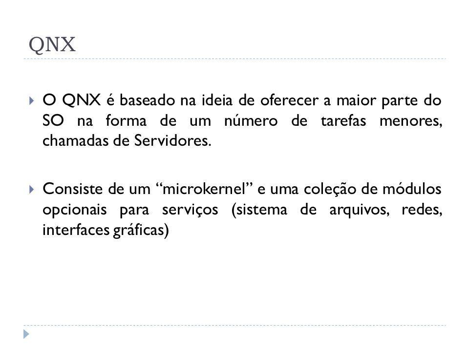 QNX O QNX é baseado na ideia de oferecer a maior parte do SO na forma de um número de tarefas menores, chamadas de Servidores. Consiste de um microker