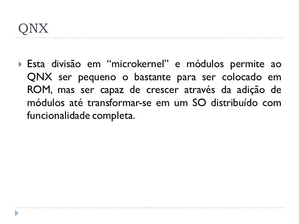 QNX Esta divisão em microkernel e módulos permite ao QNX ser pequeno o bastante para ser colocado em ROM, mas ser capaz de crescer através da adição d