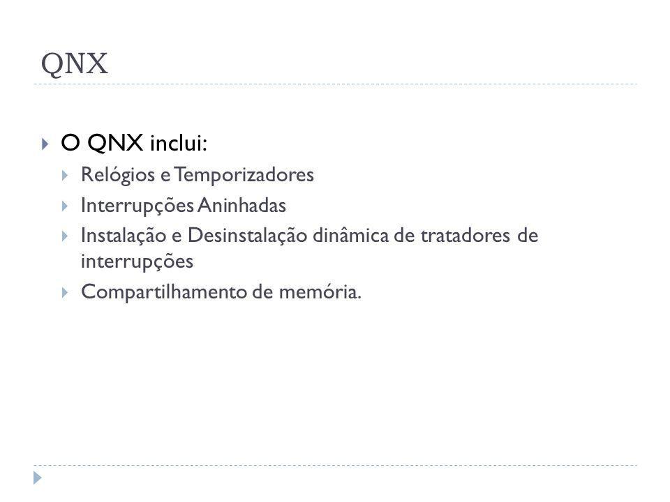 QNX O QNX inclui: Relógios e Temporizadores Interrupções Aninhadas Instalação e Desinstalação dinâmica de tratadores de interrupções Compartilhamento